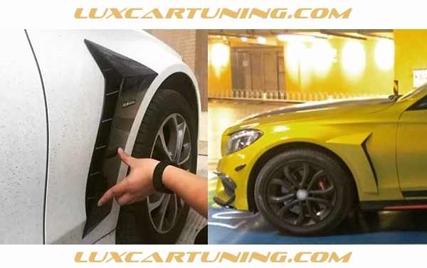 Carbon pads on front fenders by B style, wilt logo B or AMG for Mercedes Benz C class W205 and C class Coupe