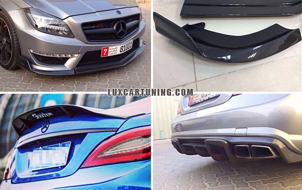 Carbon set for Mercedes Benz CLS 63 AMG: front lip, side skirts, diffusor, spoiler, roof spoiler. All parts maked by carbon fiber, have a 100% fitting and fix, and installation time not make any problem