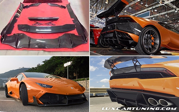 Carbon fiber body kit DMC for Lamborghini Huracan Lp610: front lip, side skirts, rear diffusor, spoiler