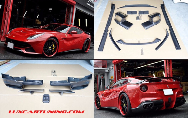 Ferrari Berlinetta F12 Revozport full carbon body kit, including: Front lip ,Side skirts ,Rear diffuser ,Trunk spoiler, Material Carbon fiber
