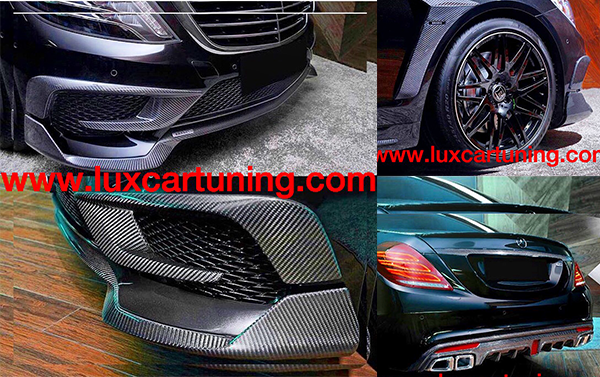 Carbon set by B style for Mercedes Benz S class 63/65 AMG W222: On front bumper carbon lip and pads, rear carbon diffusor, spoiler on trunk , molding on trunk, carbon pads on fenders, pads-moldings on side skirts