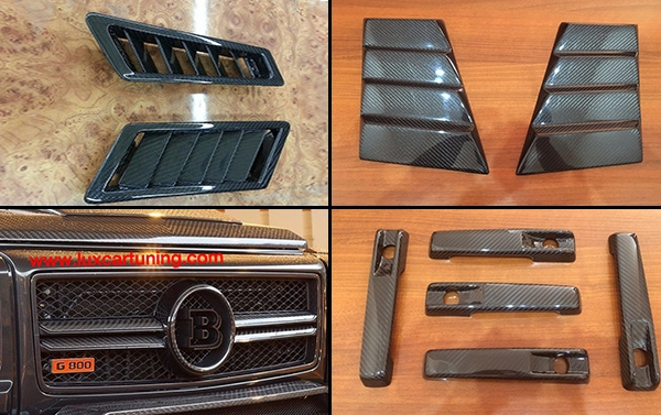 Carbon full body kit Brabus Widestar(copy) for Mercedes Benz G class W463: rear diffusor, both side, hood scoop, front lip , grill, upper molding, mirrors body, pads on fenders