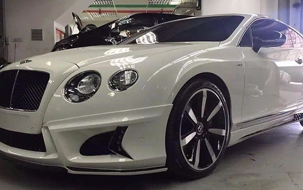 Body kit W style for Bentley Continental GT: Front lip with led, side skirts, rear lip set, exhaust pips