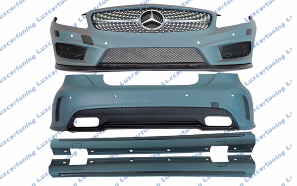Body kit 45 AMG for Mercedes Benz A class W176: front bumper set, grill, side skirts, rear bumper set, exhaust pips