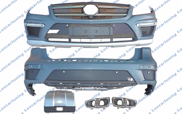 Body kit 63 AMG for Mercedes Benz GL class X166: front bumper set, fenders archs , rear bumper set, exhaust pips