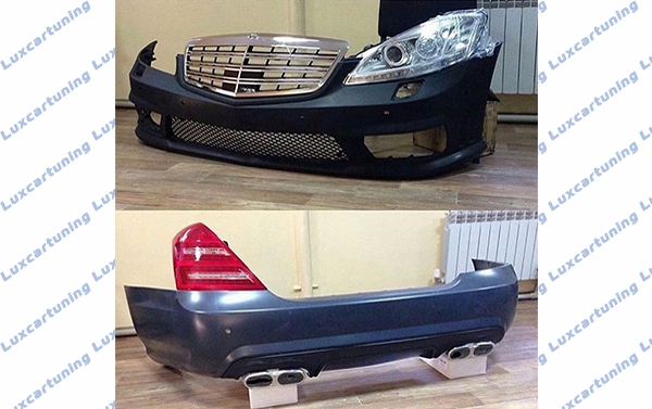 Body kit 65 amg for Mercedes Benz S class w221: front bumper set with led, side skirts, rear bumper set