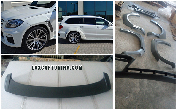 Body kit B WideStar for Mercedes Benz GL63 AMG: front bumper lip with air pads, wheel arches with fenders pads, rear bumper diffusor, roof spoiler on trunk door