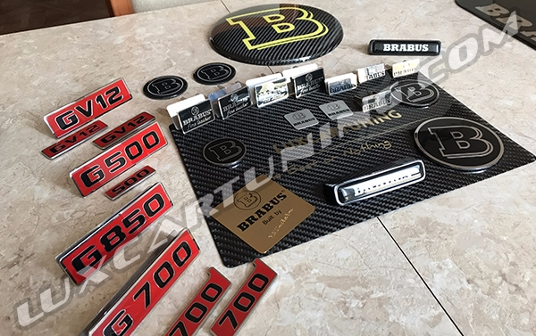 All kind of Brabus interior and exterior emblems and beiges for Mercedes Benz G class W463, G500 4x4, G63 AMG 6x6, G coupe