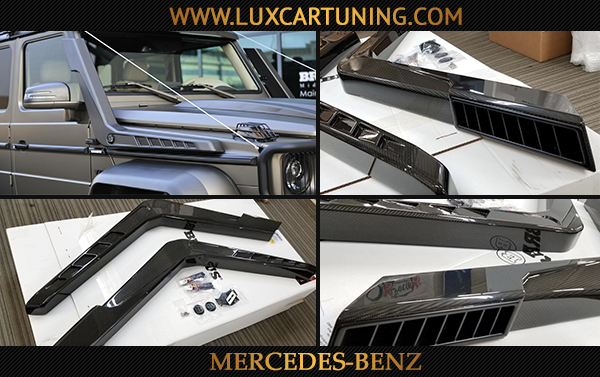 Brabus 550 4x4 Adventure glossy carbon air intakes (left and right) for Your Mercedes Benz G500 4x4.