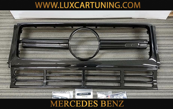 Carbon Brabus radiator grill with illuminated logo for Mercedes Benz G class W463, G500 4x4, G63 AMG 6x6.