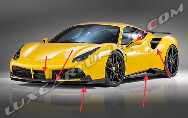 Carbon fiber NOVITEC ROSSO body kit for Ferrari 488 GTB: