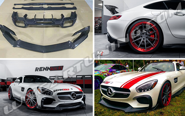 Carbon fiber RENNTECH body kit for Mercedes Benz AMG GT(S) C190 before snd after Facelift: