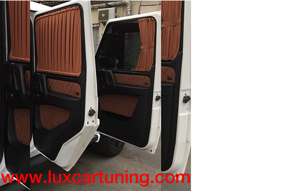 Exclusive interior blinds(curtains) 2 tone for doors and rear side glass Mercedes Benz G class W463: Possible to order any colour by style Brabus. Set possible to make 7 pcs(5doors + 2 rear side glass, 4 doors, 5 doors),