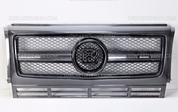 Original BRABUS radiator carbon grill with central Brabus logo and side illuminated logo