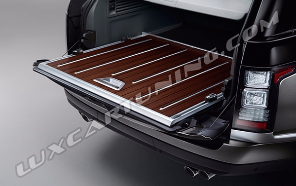 Range Rover SV Autobiography present charging racks made of wood for trunk