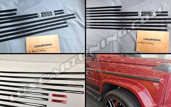 Side carbon moldings intakes set (available also black one, with any kind of name on fenders) for New Mercedes Benz G63 AMG W463A....