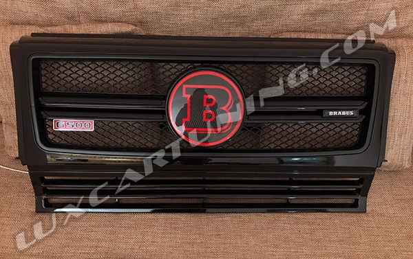 Special Brabus style grill with carbon central logo, G500, G700, G850 red logo and illuminated brabus emblem for Your Mercedes Benz G class W463, G500 4x4, G63 AMG 6x6