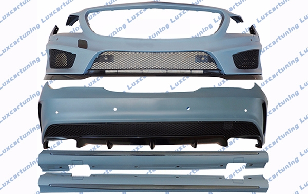 Body kit 45 AMG for Mercedes Benz CLA class W117: full front bumper, side skirts, rear bumper, exhaust pips