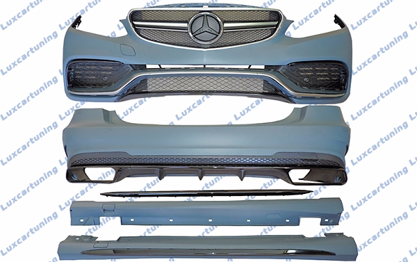 Body kit 63 AMG for Mercedes Benz E class W212: front bumper set, grill, side skirts, rear bumper set, exhaust pips