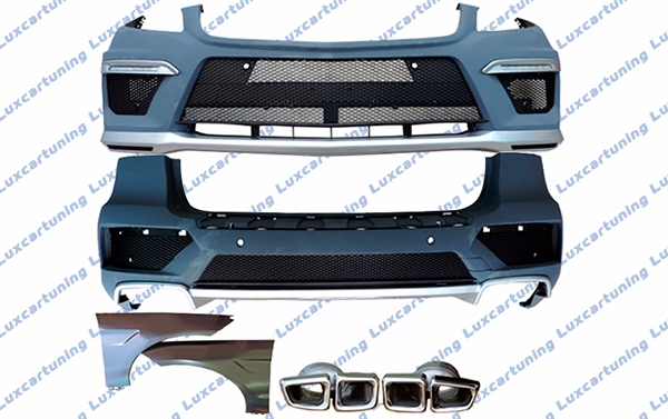 Body kit 63 AMG for Mercedes Benz ML class W166: front bumper set, front fenders, rear bumper set, exhaust pips