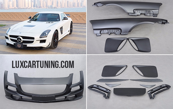 Full body kit BlackSeries with carbon elements for Mercedes Benz 63 AMG C197: Hood, Front bumper, Lip of front bumper, Front fenders, Side skirts, Rear bumper, Rear spoiler, Pads on rear fenders