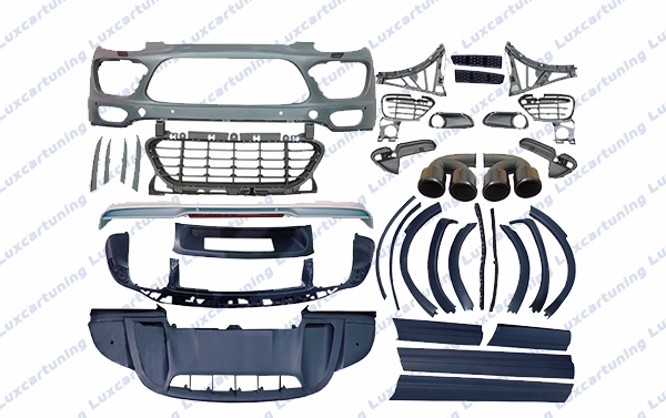 Full body kit GTS for Porsche Cayenne 958: front bumper set, pad under bumper, lip under front and rear bumpers, pads on side skirts, foglamps frames, wheel arches, exhaust pips, rear bumper diffusor, spoiler trunk ....