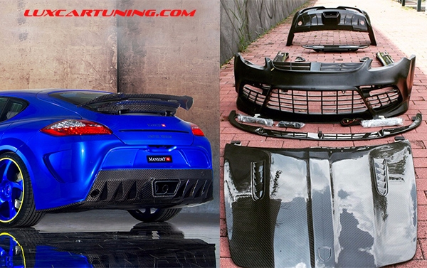 Full body kit M style for Porsche Panamera : carbon hood, front bumper set with foglamps, wheel arches, side skirts, rear bumper, diffusor, exhaust pips, spoiler