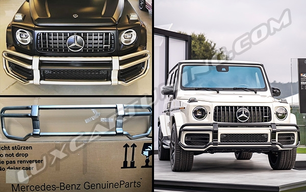 2018 MY front protection bull bar silver and black colors for Mercedes Benz G63 AMG up to 2018 model.