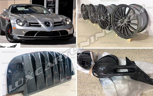722s Edition exterior carbon kit (front splitter, side mirrors, rear diffuser) and forged wheels for Mercedes Benz SLR Mclaren Available in stock.