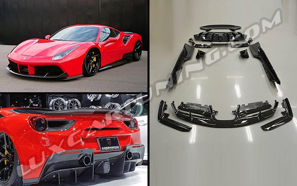 AimGain full dry carbon aerodynamic body kit for Ferrari 488GTB: