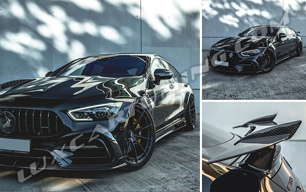 Amazing aerodynamic kit for Mercedes Benz GT AMG 4 X290 made by dry carbon will make your car so brutal and more luxury because specialists from @topcar_design worked exactly on it… So time to make your GT AMG more luxury, sport, amazing…