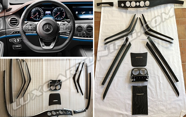 "Black mat  and Brown ""Open Pores"" facelift interior trims for Mercedes Benz S class W222 and Maybach X222."