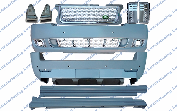 Body kit Autobiography for Range Rover vogue till 2013 model: front bumper set, grills set, side skirts, rear bumper set, exhaust pips