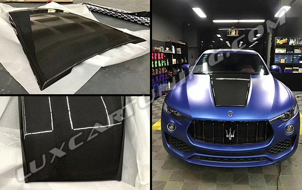 Carbon fiber hood scoop by Novitec design for Maserati Levante.