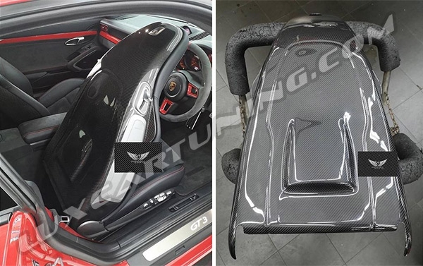 Carbon seats covers for your Carrera seats by @techart_germany is beautiful component of your car sport+luxury interior