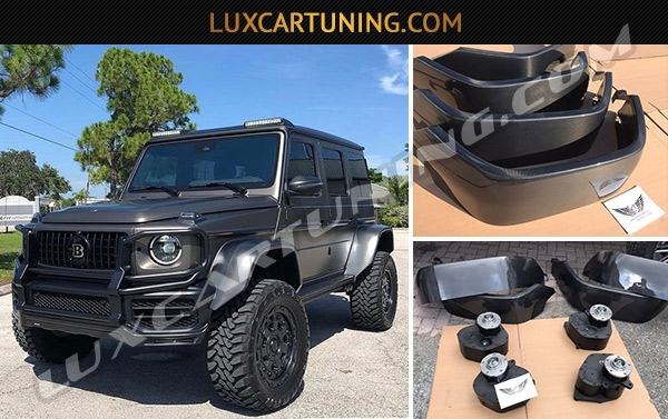 Legendary Tibus (Germany) from one side made for you portal axles and @luxcartuning_official from other side made carbon fender flares 23 and 25 cm which is giving chance in few hours to convert your G class W463A to 4x4 square