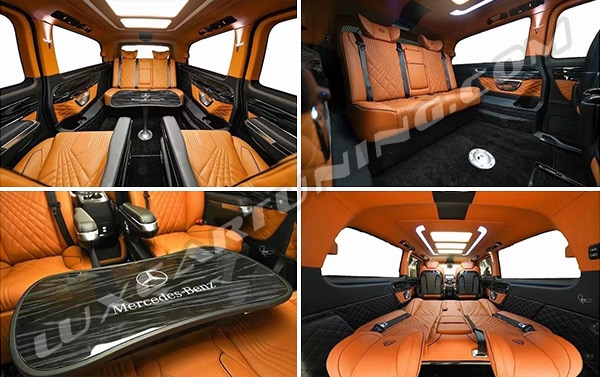 Luxury interior full assembly or sapperate seats and tables for Mercedes Benz V class W447. Your moving office must to be comfortable, beautiful, and little bit expensive))))
