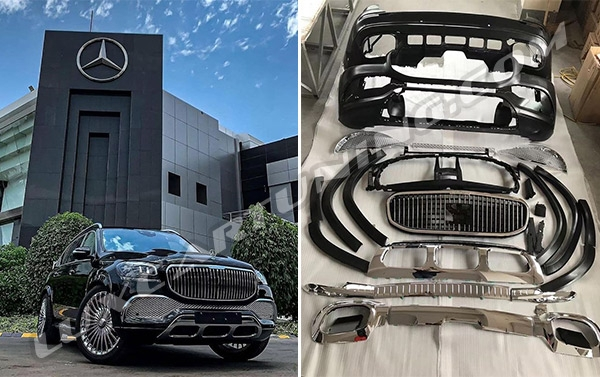 Maybach full conversion exterior body kit with electric running boards for Mercedes Benz GLS X167 available in stock