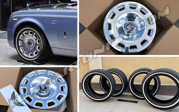 R21 full polished OEM style forged wheels and original tires with white line for Rolls Royce Phantom, Drophead….