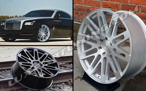 R24 Brushed Silver, Glossy black and mat black ROAD FOARCE wheels for Your Rolls Royce Ghost, Wraith and Dawn. (24x9 for front and 24x10 for rear)